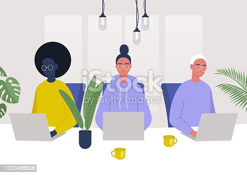 A diverse group of characters working together in the office, millennials at work