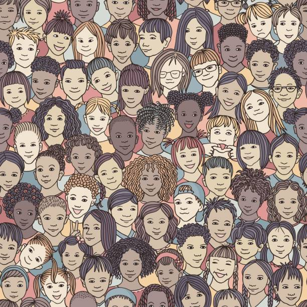 Diverse group of children - seamless pattern vector art illustration