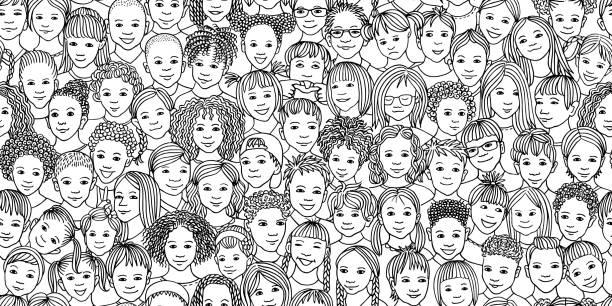 Heterogene Gruppe von Kindern – Vektorgrafik