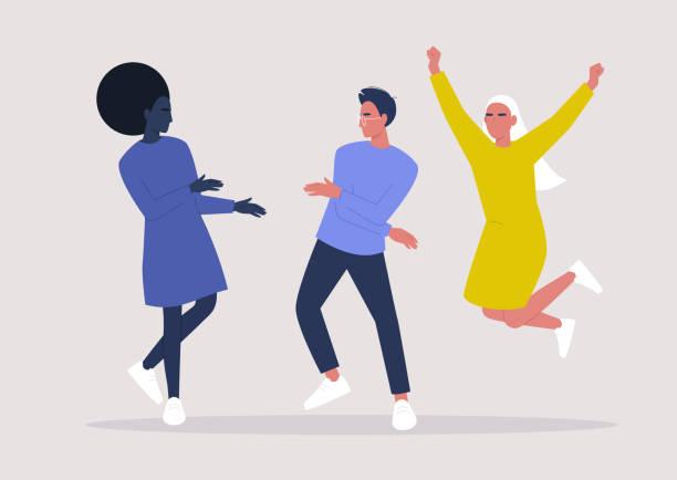 ilustrações, clipart, desenhos animados e ícones de um grupo diversificado de personagens dançantes, estilo de vida milenar - dançar