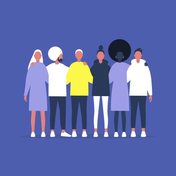 stockillustraties, clipart, cartoons en iconen met een gevarieerde groep vrienden die elkaar omarmen, ondersteuning en hulp, community gathering - buren