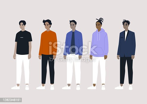 A diverse group of male characters: Asian, Arab, Caucasian, Black