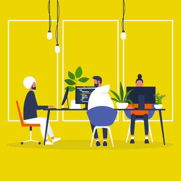Een gevarieerde groep van duizendjarige-collega's die werkzaam zijn in het Open Space-kantoorvectorkunst illustratie
