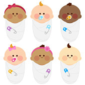 Vector Illustration of a happy multicultural group of cute swaddled babies