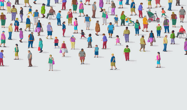 illustrazioni stock, clip art, cartoni animati e icone di tendenza di diverse group of overweight people - obesity