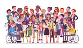Diverse group of people full length portrait. Members of different nations, various age, sex, health, social class, standing together. Vector flat style cartoon illustration isolated, white background