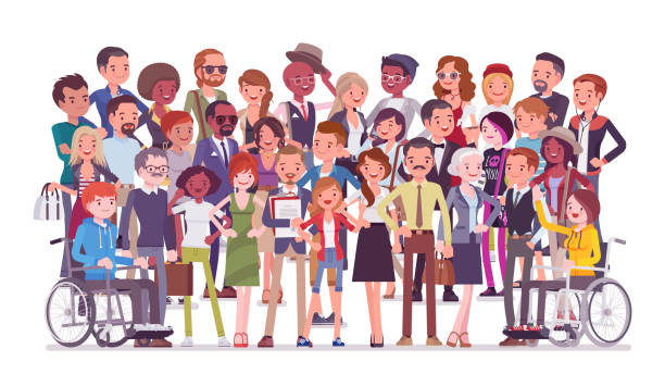 Diverse group of people full length portrait Diverse group of people full length portrait. Members of different nations, various age, sex, health, social class, standing together. Vector flat style cartoon illustration isolated, white background cartoon people stock illustrations