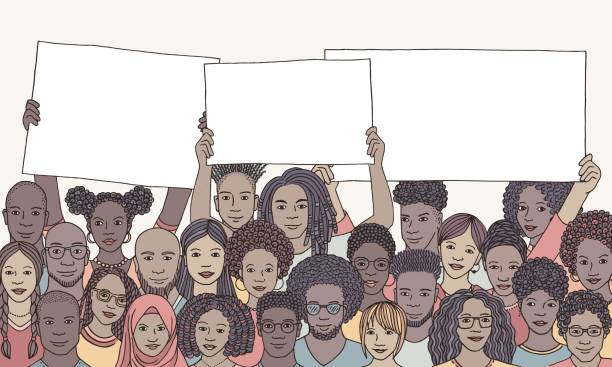 Diverse group of people of color holding empty signs vector art illustration