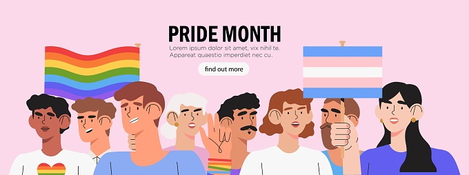 Diverse group of people or crowd holding posters, placards, symbols, signs and transgender flags and lgbt rainbows, gay parade, pride month or parade banner, poster. Human rights and equality.
