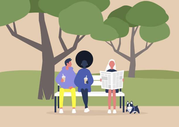 bildbanksillustrationer, clip art samt tecknat material och ikoner med en mångsidig grupp människor som sitter på en bänk i parken, sommar utomhus fritid, träd och gräs - hund skog