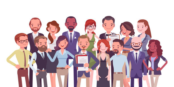 Diverse group of people Diverse group of people. Members of different nations, various age, sex, jobs standing together for common work, social interaction. Vector flat style cartoon illustration isolated on white background midsection stock illustrations