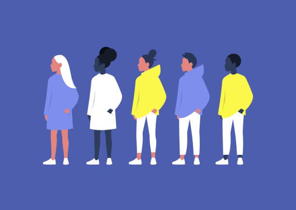 ilustrações, clipart, desenhos animados e ícones de um grupo diversificado de adolescentes, meninos e meninas, geração z, zoomers - menina negra
