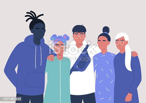 A diverse group of teenagers hugging each other, street style, generation z