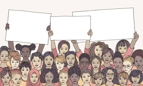 diverse group of women holding empty signs - only women stock illustrations