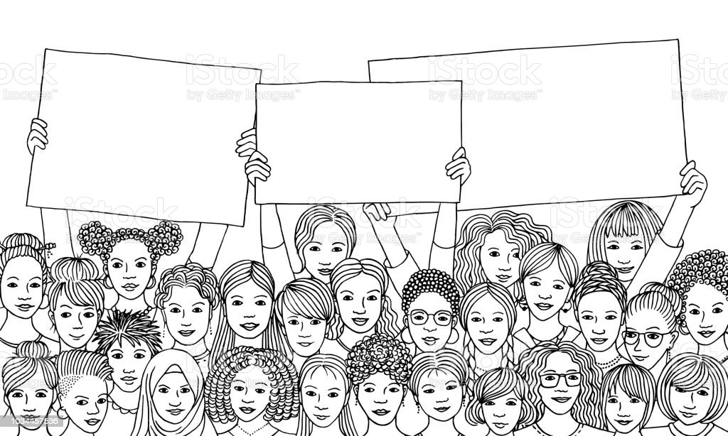 Diverse group of women holding empty signs vector art illustration