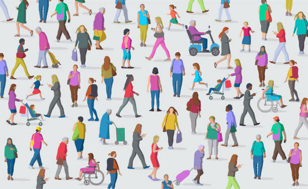 Diverse Group of Women Large group of Women representing a diverse society population explosion stock illustrations