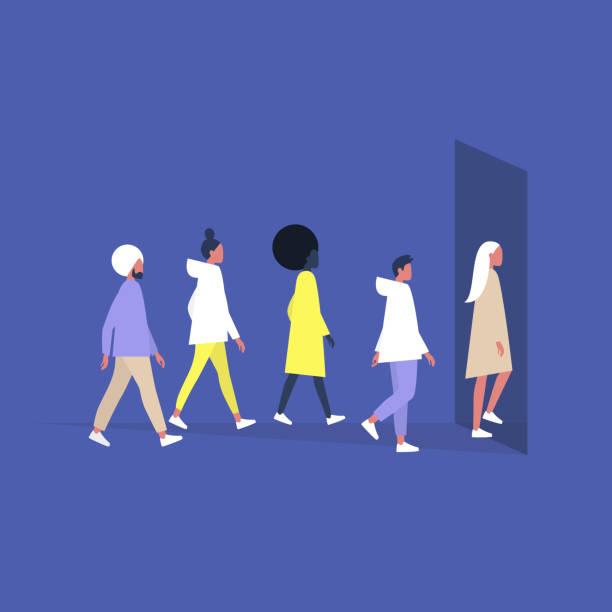 stockillustraties, clipart, cartoons en iconen met een gevarieerde groep jonge duizendjarige-mensen die in een gebouw ingang lopen, het dagelijks leven - jonge mannen