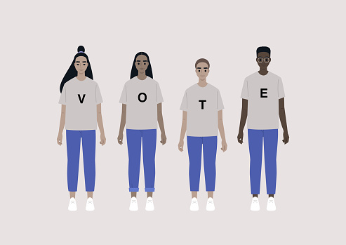 A diverse group of young people wearing a vote sign on their t shirts