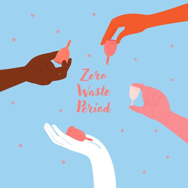 illustrazioni stock, clip art, cartoni animati e icone di tendenza di diverse hands hold menstrual cups. empowerment - coppa mestruale