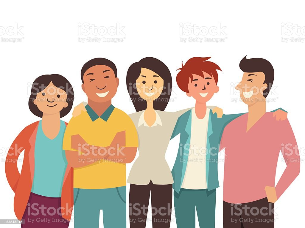 Diverse happy people vector art illustration
