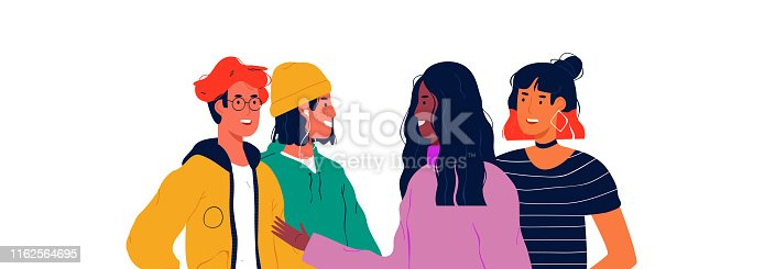 Diverse young people group on isolated white background. Social teen scene concept. Happy teenagers smiling and talking.
