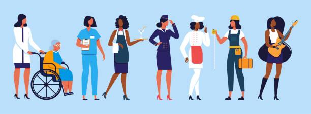 stockillustraties, clipart, cartoons en iconen met diverse internationale en interraciale vrouwengroep - stewardess