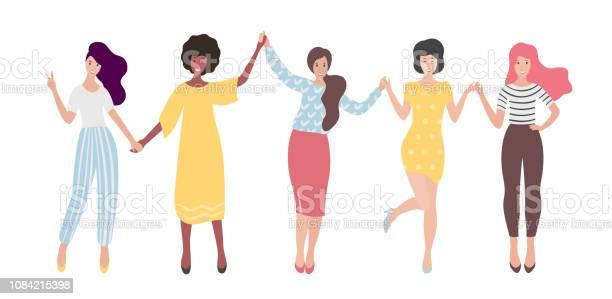 Diverse international group of standing women or girl holding hands vector id1084215398?b=1&k=6&m=1084215398&s=612x612&h=elcmsgju3x7nlvxlh6 m urfj8spdbdvhkquj4nsgje=