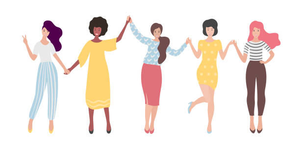 illustrazioni stock, clip art, cartoni animati e icone di tendenza di diverse international group of standing women or girl holding hands. sisterhood, friends, union of feminists. flat vector illustration. - donna