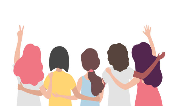 illustrazioni stock, clip art, cartoni animati e icone di tendenza di diverse international group of women or girl hugging together. sisterhood, friends, union of feminists, event celebration. girls team on isolated background with copy space. - ragazza