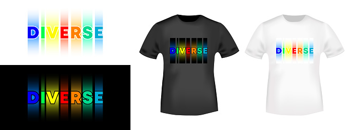 Diverse LGBT typography for t-shirt stamp, tee print, applique, or other printing products. Vector illustration