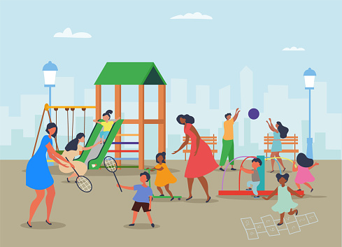 Diverse mothers with children at a playground