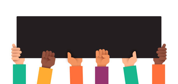 diverse multi-ethnic protest people holding up sign - diversity stock illustrations