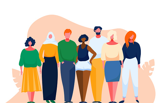 Diverse multinational group of people. Multicultural and multiethnic crowd. Vector illustration with cartoon characters. Man and woman of different nations stay together as a team