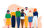 istock Diverse multinational group of people. Multicultural and multiethnic crowd. Vector illustration with cartoon characters. Man and woman of different nations stay together as a team. 1220782783