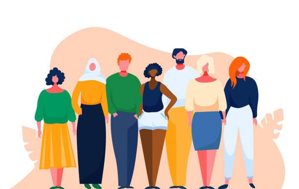 bildbanksillustrationer, clip art samt tecknat material och ikoner med olika multinationella grupp av människor. mångkulturell och multietnisk publik. vektorillustration med seriefigurer. man och kvinna från olika nationer håller ihop som ett team. - kulturer