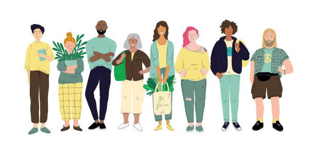 Vielfältige multirassische und multikulturelle Personengruppe – Vektorgrafik