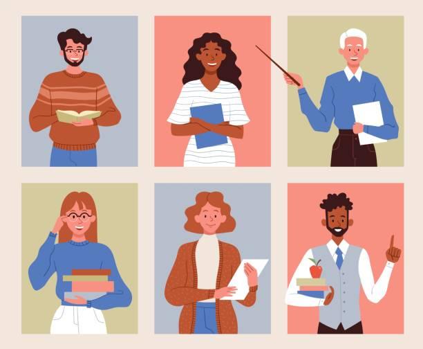 ilustrações, clipart, desenhos animados e ícones de diversos personagens de professores multirraciais - professor