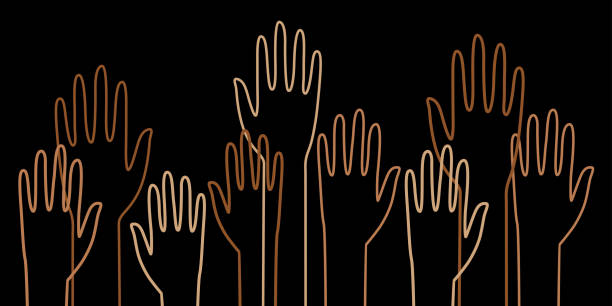 diverse outline raised hands - diversity stock illustrations
