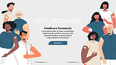 istock Diverse people after vaccine injection concept. Banner Let's Vaccinate, healthcare campaign. Vaccination landing page template. Multicultural team, unity in diversity. Flat vector cartoon illustration 1317245192
