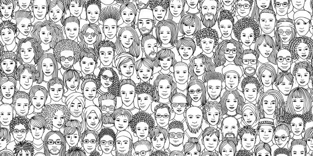 Diverse people banner Diverse crowd of people - seamless banner of 100 different hand drawn faces of various ethnicities community drawings stock illustrations