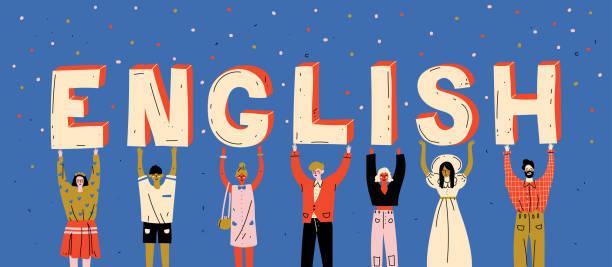 Verschiedene Leute, die Buchstaben sprechen Wort Englisch. Fremdsprache lernen – Vektorgrafik