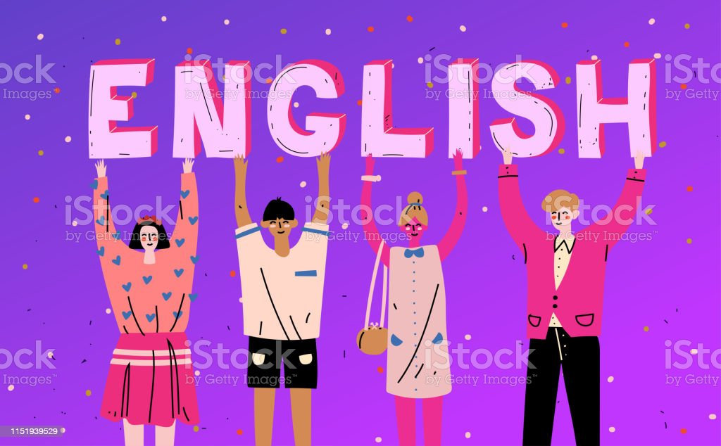 Diverse people holding letters word English. Learn language.