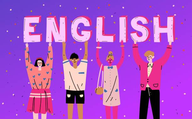 文字の単語英語を持つ多様な人々。言語を学ぶ。 - 語学の授業点のイラスト素材/クリップアート素材/マンガ素材/アイコン素材