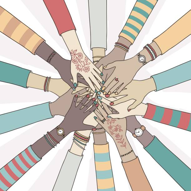 Diverse people holding their hands together vector art illustration