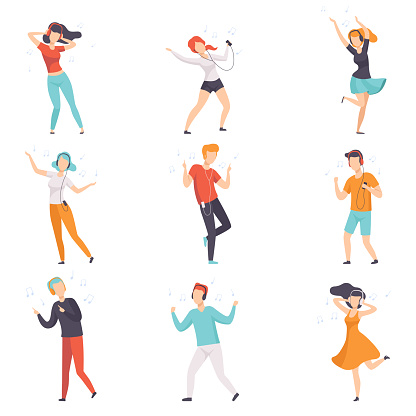 Diverse people listening music with headphones and dancing set, young faceless guys and girls in casual clothes with headphones and audio players vector Illustrations on a white background clipart