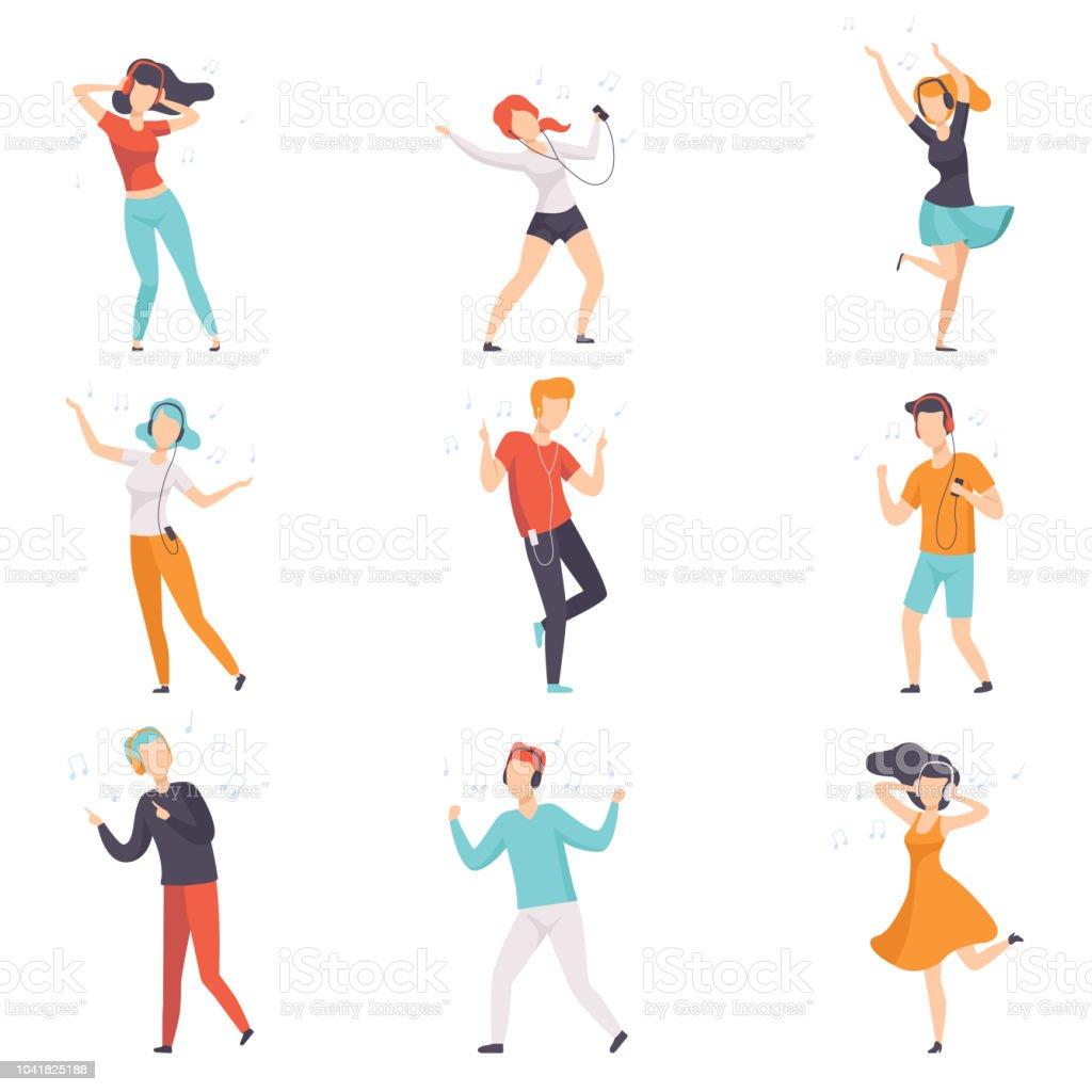 Unterschiedliche Menschen mit Kopfhörern Musik hören und tanzen Satz, Vektor gesichtslosen Jungs und Mädchen in Freizeitkleidung mit Kopfhörer und audio-Playern Illustrationen auf weißem Hintergrund – Vektorgrafik