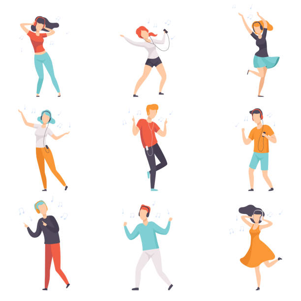 illustrazioni stock, clip art, cartoni animati e icone di tendenza di diverse people listening music with headphones and dancing set, young faceless guys and girls in casual clothes with headphones and audio players vector illustrations on a white background - dance