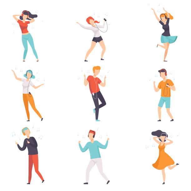 illustrations, cliparts, dessins animés et icônes de diverses personnes écoutant de la musique avec un casque et de danser ensemble, jeunes mecs sans visage et des filles dans des vêtements décontractés avec casque et lecteurs audio vector illustrations sur fond blanc - danse
