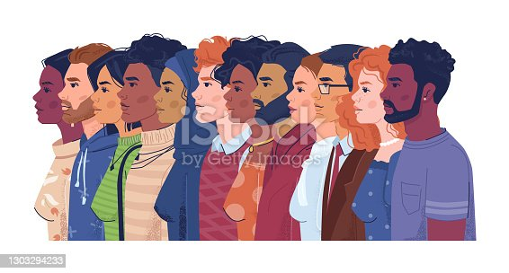 istock Diverse people, multiracial, multicultural crowd of men and women, side view portraits. Vector multi-ethnic group, concept of equality and togetherness. Wellness, independence and freedom, stop racism 1303294233