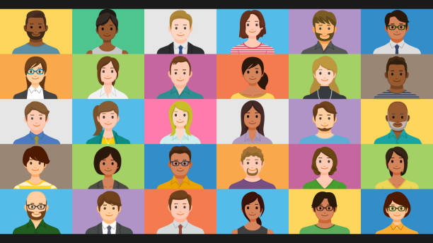 Diverse people on online group video chat screen vector art illustration
